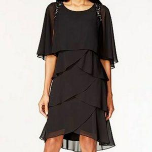 💃SL FASHIONS Black Tiered Evening Dress Sz 12💃